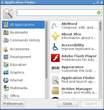 xfce-app2 xfce-app1 xfce application finder
