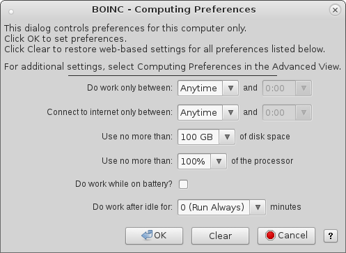 BOINC - Computing Preferences