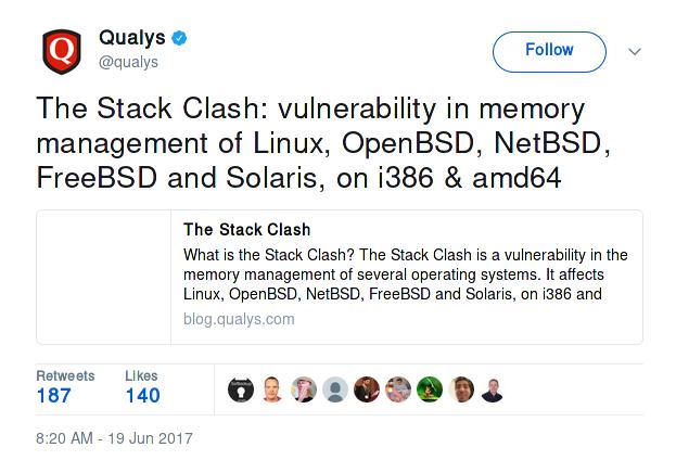 stack clash vulnerability linux bsd unix nix